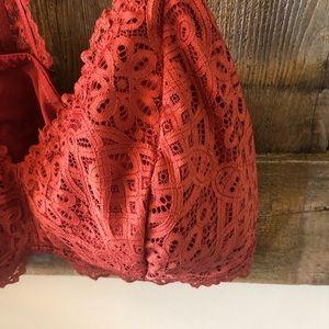 Auden Intimates & Sleepwear - Auden | Orange Red Lace Lightly Lined Bralette